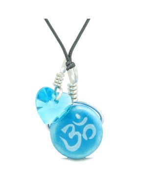 Handcrafted Cute Ceramic Lucky Charm Aqua OM Ohm Tibetan Blue Heart Amulet Pendant Adjustable Necklace