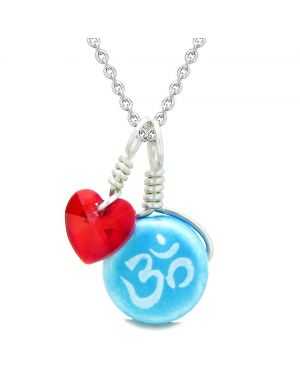 Handcrafted Cute Ceramic Lucky Charm Aqua OM Ohm Tibetan Red Heart Amulet Pendant 22 Inch Necklace
