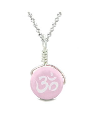 Handcrafted Cute Ceramic Lucky Charm Pink OM Ohm Tibetan Amulet Pendant 18 Inch Necklace