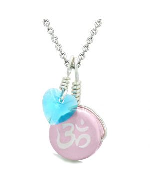 Handcrafted Cute Ceramic Lucky Charm Pink OM Ohm Tibetan Blue Heart Amulet Pendant 18 Inch Necklace