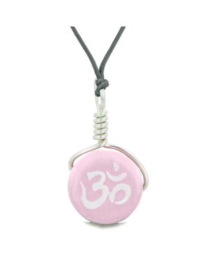 Handcrafted Cute Ceramic Lucky Charm Pink OM Ohm Tibetan Amulet Pendant Adjustable Necklace