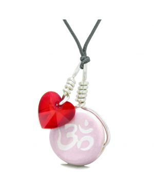 Handcrafted Cute Ceramic Lucky Charm Pink OM Ohm Tibetan Red Heart Amulet Pendant Adjustable Necklace