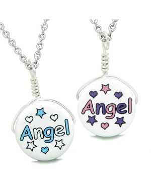 Love Couples or Best Friends Set Cute Ceramic Aqua Pink Angel Lucky Charms Amulet Pendant Necklaces