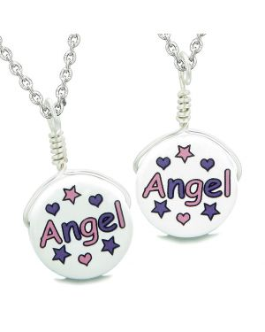 Love Couples or Best Friends Set Cute Ceramic Pink Purple Angel Lucky Charm Amulet Pendant Necklaces