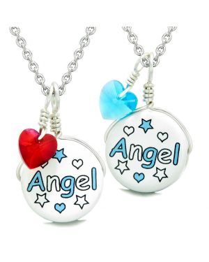 Love Couples or BFF Set Cute Ceramic Aqua Angel Lucky Charm Blue Red Hearts Amulet Pendant Necklaces