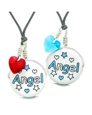 Love Couples or BFF Set Cute Ceramic Aqua Angel Lucky Charm Blue Red Hearts Amulet Adjustable Necklaces