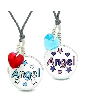 Love Couples or BFF Set Cute Ceramic Aqua Pink Angel Charms Blue Red Hearts Amulet Adjustable Necklaces