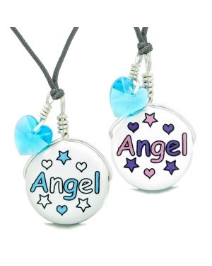 Love Couples or BFF Set Cute Ceramic Aqua Pink Angel Lucky Charms Blue Hearts Amulet Adjustable Necklaces