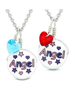 Love Couples or BFF Set Cute Ceramic Pink Purple Angel Charm Blue Red Hearts Amulet Pendant Necklaces