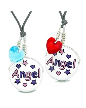 Love Couples or BFF Set Cute Ceramic Pink Purple Angel Charm Blue Red Hearts Amulet Adjustable Necklaces