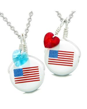 Love Couples or BFF Set Cute Ceramic Amercian Flag Charms Blue Red Hearts Amulet Pendant Necklaces