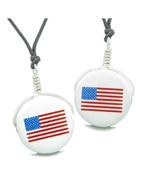 Love Couples or Best Friends Set Cute Ceramic Amercian Flag Lucky Charm Amulet Adjustable Necklaces