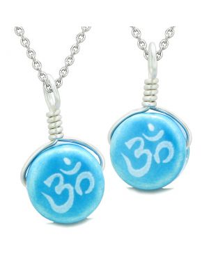 Love Couples or Best Friends Set Cute Ceramic Tibetan Aqua OM Ohm Lucky Charm Amulet Pendant Necklaces