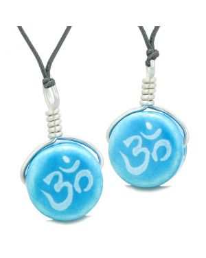 Love Couples or Best Friends Set Cute Ceramic Tibetan Aqua OM Ohm Lucky Charm Amulet Adjustable Necklaces