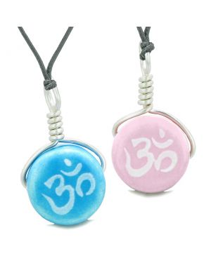 Love Couples or Best Friends Set Cute Ceramic Tibetan Aqua Pink OM Lucky Charm Amulet Adjustable Necklaces