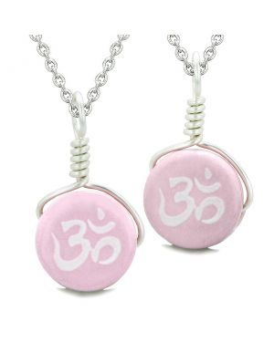 Love Couples or Best Friends Set Cute Ceramic Tibetan Pink OM Ohm Lucky Charm Amulet Pendant Necklaces