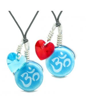 Love Couples or BFF Set Cute Ceramic Tibetan Aqua OM Charms Blue Red Hearts Amulet Adjustable Necklaces