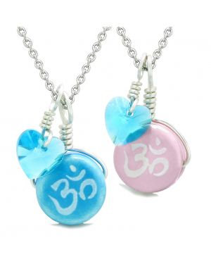 Love Couples or BFF Set Cute Ceramic Tibetan Aqua Pink OM Blue Charm Blue Hearts Amulet Pendant Necklaces