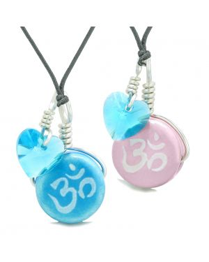 Love Couples or BFF Set Cute Ceramic Tibetan Aqua Pink OM Blue Charm Blue Hearts Amulet Adjustable Necklaces