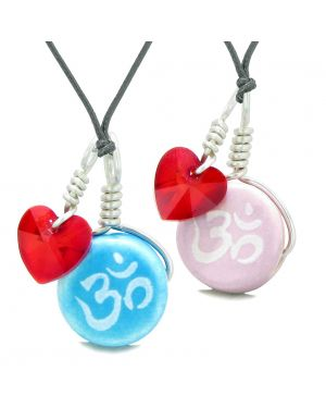 Love Couples or BFF Set Cute Ceramic Tibetan Aqua Pink OM Blue Charm Red Hearts Amulet Adjustable Necklaces