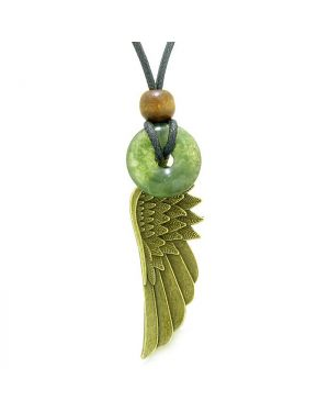 Guardian Angel Wing Protection Magic Amulet Lucky Donut Charm Green Moss Agate Pendant Necklace