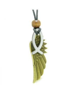 Guardian Angel Wing Protection Magic Powers Amulet Jesus Fish Simulated Hematite Pendant Necklace