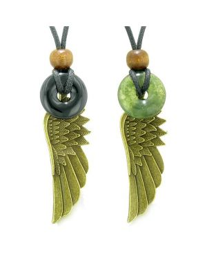 Guardian Angel Wings Magic Amulets Love Couple Best Friends Black Green Moss Agate Donut Necklaces