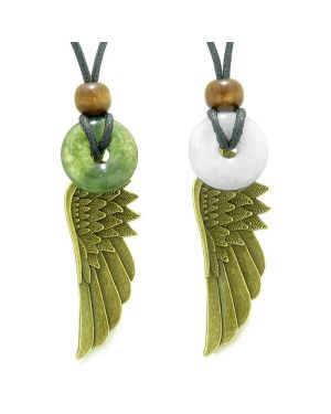 Guardian Angel Wings Magic Amulets Love Couples Best Friends Moss Agate Quartz Donut Necklaces