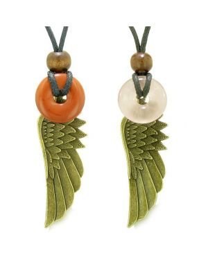 Guardian Angel Wings Magic Amulets Love Couple Best Friends Red Jasper Rose Quartz Donut Necklaces