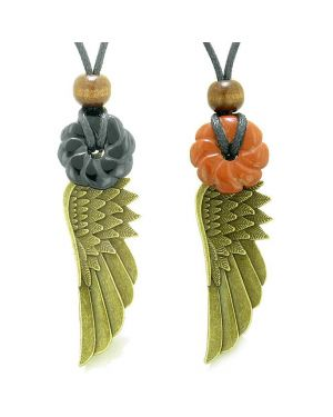Guardian Angel Wings Amulets Couples Best Friends Agate Red Jasper Celtic Flower Donut Necklaces