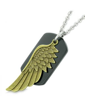 Amulet Guardian Angel Wing Magical Protection Powers Black Agate Tag Pendant 22 Inch Necklace