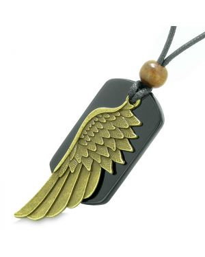 Amulet Guardian Angel Wing Protection Magical Powers Black Agate Tag Pendant Adjustable Necklace
