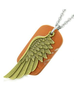 Amulet Guardian Angel Wing Magical Protection Powers Red Jasper Tag Pendant 22 Inch Necklace