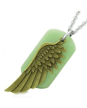Amulet Guardian Angel Wing Magical Protection Powers Green Quartz Tag Pendant 18 Inch Necklace