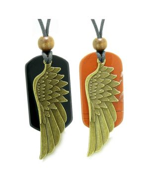 Guardian Angel Wings Protection Powers Love Couples Best Friends Jasper Agate Adjustable Necklaces
