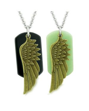 Guardian Angel Wings Protection Magic Powers Love Couple Best Friends Agate Green Quartz Necklaces