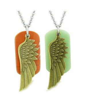 Guardian Angel Wings Protection Magic Love Couples Best Friends Jasper Green Quartz Necklaces