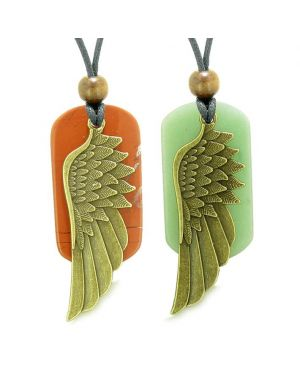 Guardian Angel Wings Protect Powers Love Couple Best Friends Green Quartz Jasper Necklaces
