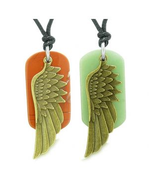 Guardian Angel Wings Protect Powers Love Couple Best Friends Jasper Green Quartz Necklaces