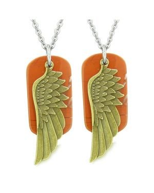 Guardian Angel Wings Protection Magic Powers Love Couples or Best Friends Set Red Jasper Necklaces