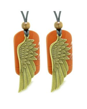 Guardian Angel Wings Protection Powers Best Friends or Love Couples Red Jasper Adjustable Necklaces