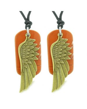 Guardian Angel Wings Protection Powers Love Couples Best Friends Red Jasper Adjustable Necklaces