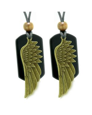 Guardian Angel Wings Protection Powers Love Couples Best Friends Black Agate Adjustable Necklaces
