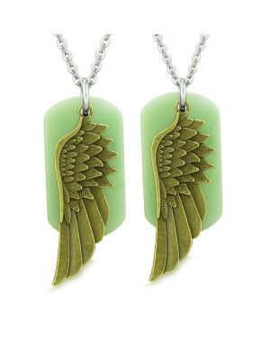 Guardian Angel Wings Protection Magic Powers Love Couples Best Friends Green Quartz Necklaces
