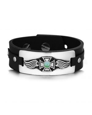 Guardian Angel Wings Viking Celtic Cross Magic Amulet Green Quartz Gemstone Leather Bracelet