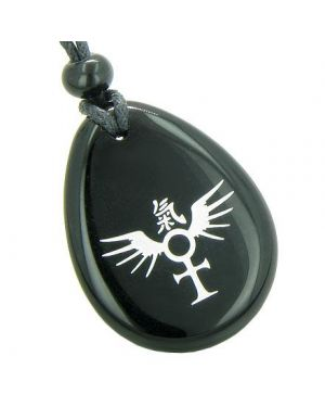 Ankh Egyptian Power of Life Spirit Wings Kanji Magic Good Luck Powers Amulet Onyx Totem Pendant