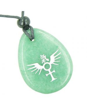 Ankh Egyptian Power of Life Spirit Wings Kanji Magic Good Luck Amulet Aventurine Totem Necklace