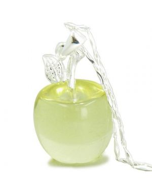 "Apple Pendant in Citrine Gemstone Sterling Silver 18"" Necklace"