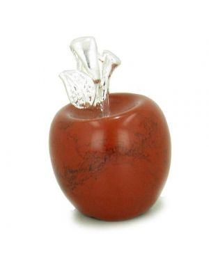 Apple Pendant in Red Jasper Silver Will Power Talisman