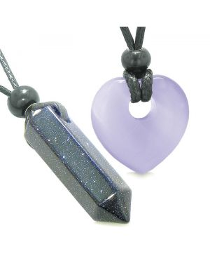 Yin Yang Crystal Point Heart Donut Love Couple Goldstone Purple Simulated Cats Eye Amulet Necklaces